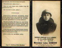 Souvenir Mortuaire DUMONT Léon (1912-1933) Né Et Mort à VILLERS-PERWIN - Images Religieuses