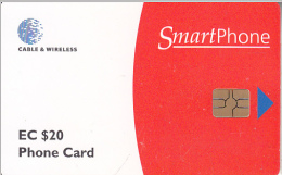 ANTIGUA & BARBUDA(chip) - Smart Phone, White & Red, First Issue EC$20, Chip GEM6b, Used - Antigua And Barbuda