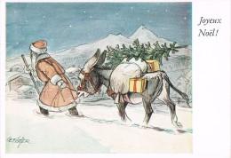 JOYEUX NOËL -PERE NOËL - Pein Avec La Bouche : CEFISCHER - Pére Noël Avec Un âne Dans La Neige - Non Circulé - Peintures & Tableaux