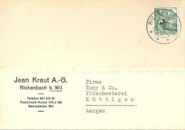 "Motiv Karte  ""Jean Kraut AG, Rickenbach B. Wil""           1949 - Storia Postale"