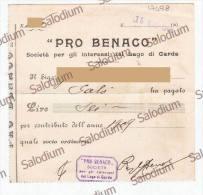 1909 - PRO BENACO - Società Per Gli Interessi Del Lago Di Garda - Ricevuta - SALO´ - Italia