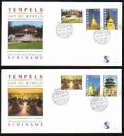 Surinam / Suriname 1998 FDC 216ab Tempel Temple Borobodur Pagode - Monumenten