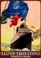 # OCEAN LINER Art Print Stampa Gravure Poster Druck Ship America Atlantic Vintage Italy Lloyd Triestino Trieste - Décoration Maritime