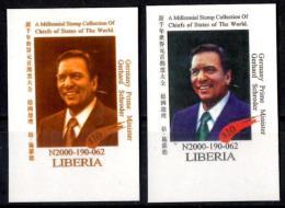 LIBERIA Color Proof Germany Gerhard Schroder MNH UN USA New York 6 Sept. 2000 World Leader Millennium Summit - Célébrités