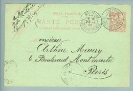 France Levante Smyrne 1909-04-22 Ganzsache Nach Paris - Lettres & Documents