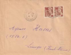 Paire Du 75c Mercure Brun-rouge, Surchargé 50c N°477 Sur Lettre Du 5/8/41 - 1938-42 Mercure