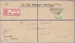 Gibraltar 1929-01-30 R-Brief Nach Zürich Via London - Gibraltar
