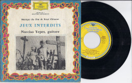 Disque 45 T Vinyle Musique Du Film De René CLEMENT JEUX INTERDITS Narciso Yepes Guitare Chanson Catalane Romance Bourrée - Musique De Films
