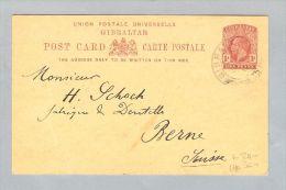 Gibraltar 1912-10-20 Postkarte Nach Bern Schweiz - Gibraltar