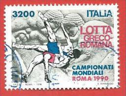 ITALIA REPUBBLICA USATO - 1990 - Campionati Mondiali Di Lotta Greco Romana - £ 3200 - S. 1944 - 6. 1946-.. Repubblica