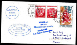 """ANTARCTIC,TAAF, AMSTERDAM , 11.4.1994, M/N""""AUSTRAL"""", 4 Cachets, Nice Stamps ,look Scan !! 1.5-35 - Antarktis-Expeditionen"""