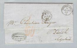 Grossbritannien 1864-06-16 Birmingham BOM London Nach Zürich Tax. 60 - Postmark Collection