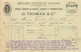 FACTURE LETTRE : AGEN . G. THOMAS ET CIE . DROGUERIE CENTRALE DU SUD OUEST . PRODUITS CHIMIQUES . 1898 . - France
