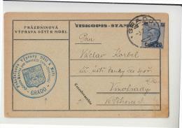 E28-1925 GRADO Cart.POSTALE GULLER SCALPELLATO+ARALDICO COLONIA CECO-SLOVACCHI+Lin.CECOSLOVACCHIA - 1900-44 Vittorio Emanuele III