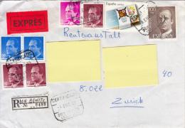 Exprès Registered Mail Certificado Espana Suiza (Vers Suisse, Zürich 1989) - Correo Urgente