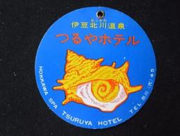 HOTEL MOTOR HOSTEL INN SHELL SPA HONKAWA TSURUYA TOKYO JAPAN LUGGAGE LABEL ETIQUETTE KOFFERAUFKLEBER DECAL STICKER - Hotel Labels