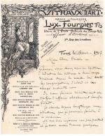 37 Tours ,très Belle Facture Lux Fournier Fils , Vitraux, Graveur 1907 (3 Scans) Dont Signature Lux Fournier - Francia