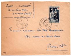 Croix-Rouge Le Retour Du Bapteme (n° 967) Seul Sur Lettre Du 15.1.1954 - Postmark Collection (Covers)