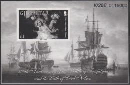 GIBRALTAR - MNH ** 2005 Battle Of Trafalgar Black Proof Print Souvenir Sheet. Scott 1027 - Gibraltar