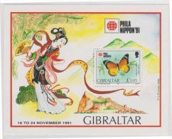 GIBRALTAR - MNH ** 1991 Phila Nippon Stamp Exhibition Souvenir Sheet. Butterflies. Scott 604 - Gibraltar