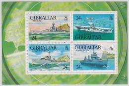 GIBRALTAR - MNH ** 1992 World War II Warships Souvenir Sheet. Scott 630 - Gibraltar