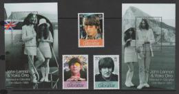 GIBRALTAR - MNH ** 1999 John Lennon Set And Two Souvenir Sheets. Scott 802-804, 805, 806 - Gibilterra