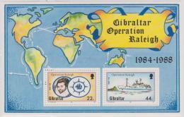 GIBRALTAR - MNH ** 1988 Explorers, Maps, Sailing Ships Souvenir Sheet. Scott 539 - Gibraltar