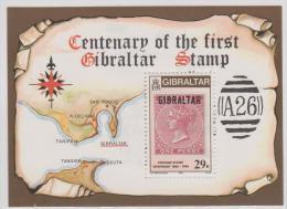 GIBRALTAR - MNH ** 1986 Postage Stamp Centenary Souvenir Sheet. Scott 490 - Gibraltar