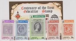 GIBRALTAR - MNH ** 1986 Postage Stamp Centenary  Set And Souvenir Sheet. Scott 485-589, 490 - Gibraltar