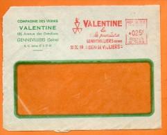 GENNEVILLIERS  VALENTINE LA BELLE PEINTURE  1960 Devant De Lettre N° EMA 1666 - Marcophilie (Lettres)