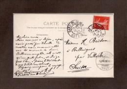 SUR  CPA  -- 1907 --  CACHET  GARE  DE  DIJON  /  BALLAIGUE  EN  SUISSE  --  SUR  10 C SEMEUSE  VERS  LA  SUISSE....... - Marcophilie (Lettres)