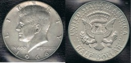 EE.UU.  USA HALF DOLLAR  1966 KENNEDY PLATA SILVER. - 1964-…: Kennedy