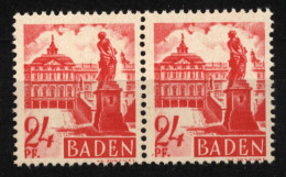 Baden,8 PF III,im Paar Mit Normalmarke,xx  (5290) - Französische Zone