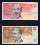 ESTONIA - 5 KROONI 1991  E 10 KROON 1994 (BB) - Estonia