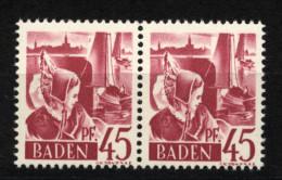 Baden,9 PF I,im Paar Mit Normalmarke,xx  (5290) - Französische Zone