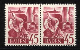 Baden,9 PF II,im Paar Mit Normalmarke,xx  (5290) - Französische Zone