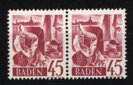 Baden,9 PF III,im Paar Mit Normalmarke,xx  (5290) - Französische Zone