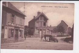 CPA ANDEVILLE OISE PETITE PLACE DU CENTRE TACOT AUTO COMMERCE LE FAMILISTERE - France