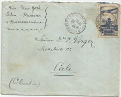 1936 FRANCIA, CORREO AÉREO - FRANCIA VOLADA DESDE PARIS A CALI VIA NEW YORK, POLOV, PANAMA Y BUENAVENTURA, COLOMBIA - Airmail