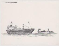 """BAT.L075 -Gravure De MAARTEN GROOT - Cargo """"SCHOTERLAND"""" - Boats"""