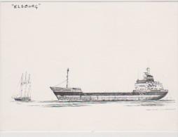 """BAT.L076 -Gravure De MAARTEN GROOT - Cargo """"ELSBORG"""" - Boats"""