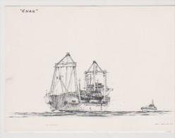 """BAT.L077 - Gravure De MAARTEN GROOT - Cargo """"ENAK"""" Scheveningen - Boats"""