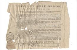 Paris , Rue St-Dominique ( 7 è Arrt ), Placard Publicité Vente Maison 1792 ( Au Gros Caillou, Vis à Vis Rue De St´Jean ) - Non Classés