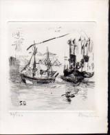 Carte De Voeux Avec Eau Forte Signée Par L´auteur Au Crayon  Numérotée 30/100 (PPP2560) - Tarjetas De Visita