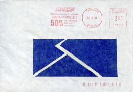 EMA Havas T-1018 SNCF,transport,train,publicité Carte Couple/famille,73 Modane,Savoie,lettre Obliterée 19.6.1984 - Trains