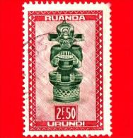RWANDA-URUNDI - Usato - 1948 - Arte Locale - Musicista Seduto, Ba-Tshokwe - 2.50 - Ruanda