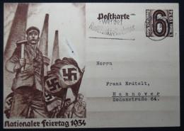 Ganzsache Deutsches Reich, DR, Nationaler Feiertag 1934, Drittes Reich - Briefe U. Dokumente