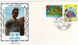 UNO Jahr Des Kindes 1979 Kinder Als Erntehelfer Beim Reigen-Tanz Algerien 742/3 FDC 2€ UNICEF Children Cover Of Algeria - Algérie (1962-...)