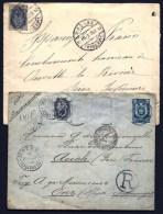 LOT 2 LETTRES RUSSIE EMPIRE AVEC TIMBRES N°44 + ENTIER POSTAL POUR AUCH  ET OUVILLE- GRAND R CERCLÉ- 1896-1906 - 1857-1916 Empire