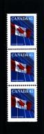 CANADA - 1995  45c  FLAG  PERF.  13 1/2 X 13  STRIP OF 3  MINT NH - 1952-.... Regno Di Elizabeth II
